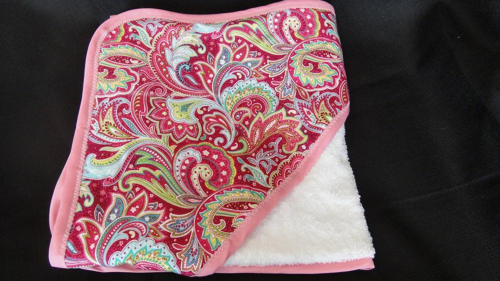Hooded Towel in Pink Green Paisley