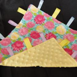 Flower lovey minky security blanket baby cotton fabric